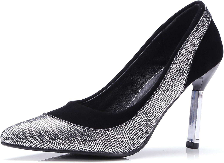 KingRover Women's Miacrofiber color Mosaic Print Snakeskin Slip-on Metal High Heel Fashion Pumps