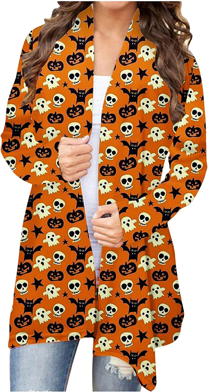 Women's Halloween Cardigan Long Sleeve Pumpkin Printed Open Front Knitted Sweater Coat Ladies Plus Size Sweatshir