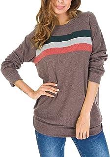 Simaier Womens Crewneck Color Block Long Sleeve Loose Casual Sweatshirt Top  (S-XXL) 2a46d0617