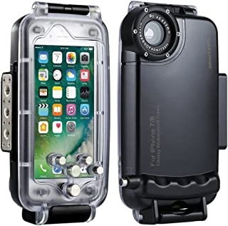 HAWEEL iPhone 7/8 Underwater Housing Professional [40m/ 130ft] Diving Case for Surfing Swimming Snorkeling Photo Video with Lanyard(iPhone 7/8, Black)