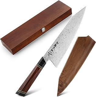 HEZHEN Classique 21.5cm Kiritsuke Chef Knife 110 Couches Full Damas Steel Kitchen Knife Couteau Multifonction à poignée oc...