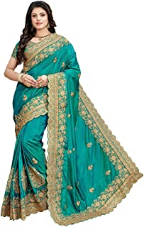 Niza Fashion Women's Embroidered Pure Silk Saree with Embroidery Blouse Piece (Green)