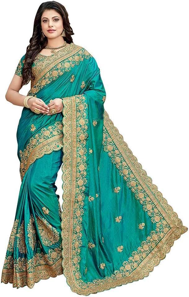 Indian Niza Fashion Women's Woven Silk Saree With Unstiched Blouse Piece Saree