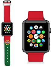 HelloGiftify Football Portugal Flag Watch band Compatible with Apple Watch Band 38mm 40mm 42mm 44mm Genuine Leather Replac...