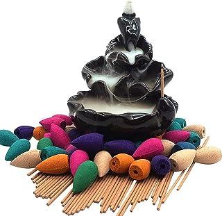 Moylor Ceramic Waterfall Incense Burner Set with 40 pcs Cones and 50 pcs Sticks Incense Handcraft Lotus Pond Censer for Ho...