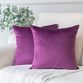Phantoscope Pack of 2 Velvet Decorative Throw Pillow Covers Soft Solid Square Cushion Case for Couch Eggplant Purple 18 x 18 inches 45 x 45 cm