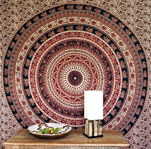 Guru-Shop Indische Mandala Doek, Wanddoek, Traditionele Bedsprei - Bruin/rood/zwart, Katoen, 230x210 cm, Mandala Bedspreien Handdoeken