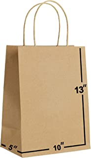 [100 Bags] 10 X 5 X 13 Brown Kraft Paper Gift Bags Bulk with Handles. Ideal for Shopping, Packaging, Retail, Party, Craft,...
