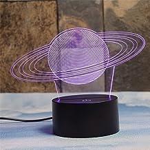 Deerbird® Saturns ringen 3D illusie 7 kleurveranderingen aanraken tafel bureau LED nachtlampje groot geschenken