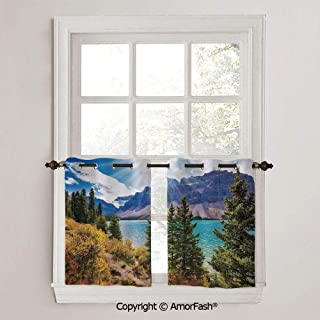 PUTIEN Landscape Small Window Blackout Drapes with Ring Top for Basement,Sold by 2 Pieces,W42 x L45-Inch,National Park Banff Canadian Rockies Mountain Trees Glacial Lake Sunny Sky