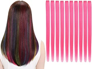 LiaSun 10Pcs/set Multi-Colors Straight Highlight Clip in Hair Extensions 20 Inch Colored Party Hair Pieces (Pink)