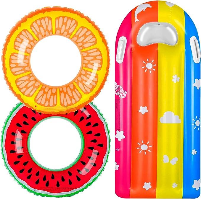 balnore Anillo de Natación para Niños, 3 PCS Flotadores Piscina para Niños y Adultos, Colchoneta Piscina, Juguetes de Verano para Piscina, Playa