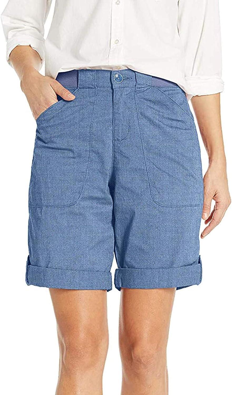 VEKDONE Women Chino Bermuda Shorts Casual Loose Lounge Yoga Jersey Summer Workout Cargo Shorts with Pockets