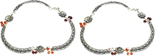 Frolics India Oxidised German Silver Metal Antique Finished Anklet/Pajeb/Payal for Women and Girls