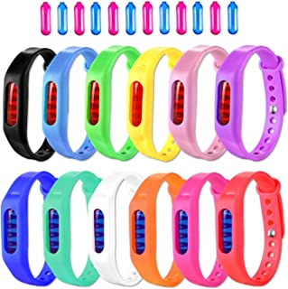 Mosquito Repellent Bracelet, 12 Pack 100% Natural Mosquito Repellent Band Safe For Kids & Adults, Waterproof Mosquito Repellent Wristband For Indoor & Outdoor Protection UP to 720Hrs(12 Refills Bonus)