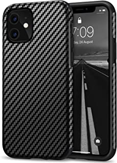 Tasikar Kompatibel mit iPhone 11 Hülle Carbon Leder Design Schutzhülle mit TPU Hybrid Handyhülle (Schwarz)
