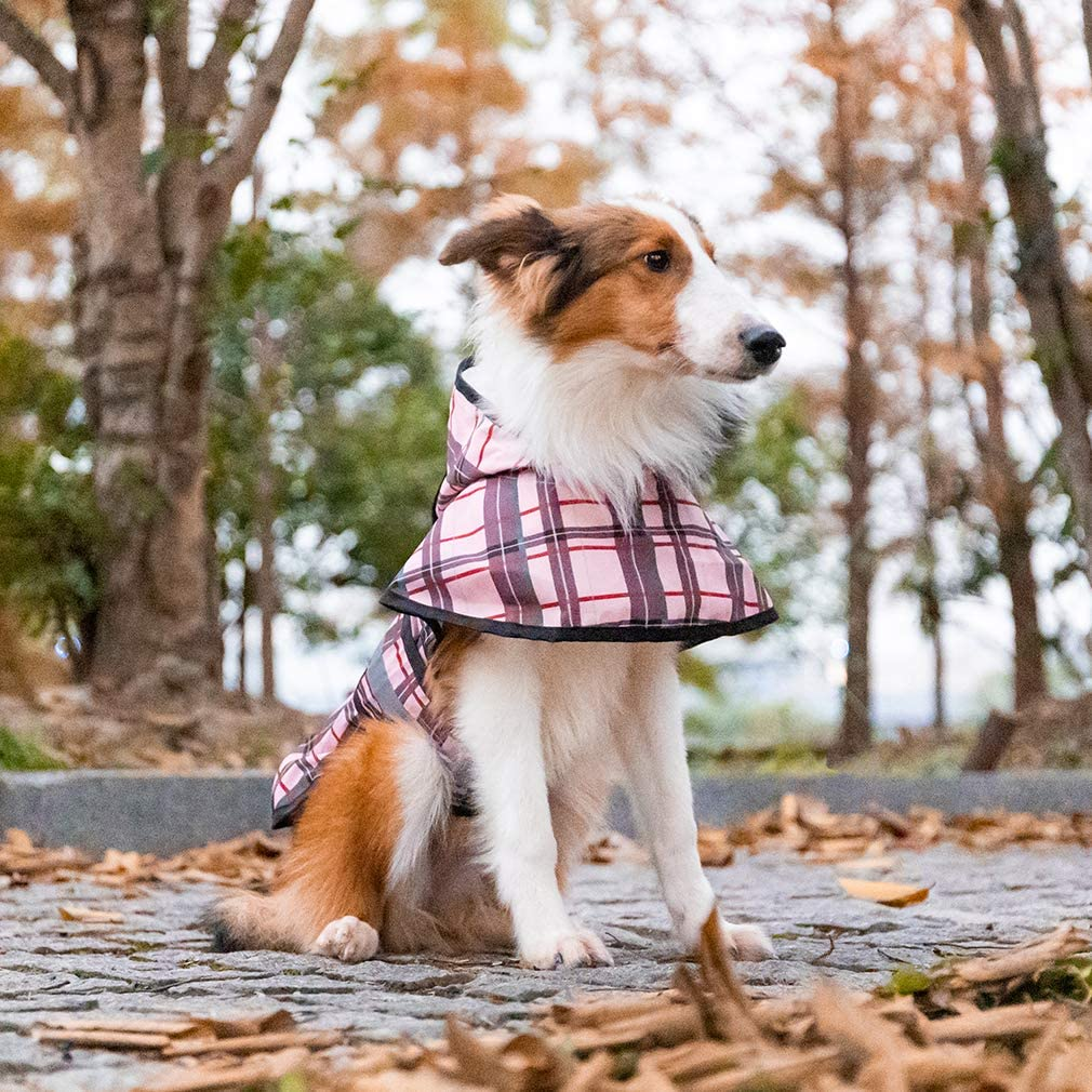 Waterproof Pet Poncho Lightweight Dog Rain Coat Jacket with Leash Hole Pink BINGPET Plaid Dog Raincoat Hooded with Reflective Strap Fit for Small Medium Large Dogs Rain Days Wear