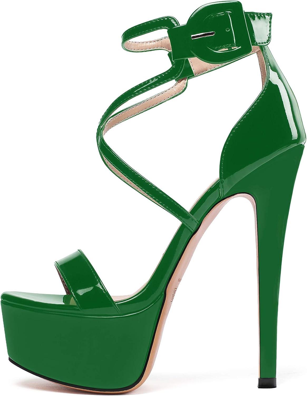 SAMMITOP Ranking TOP19 Women's Under blast sales Open Toe Platform Stiletto Strap Sandals Ankle