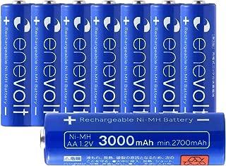 エネボルト(enevolt) 大容量 単3形充電池 3000mAh ニッケル水素充電池 自然放電軽減 充電 電池 8本セット