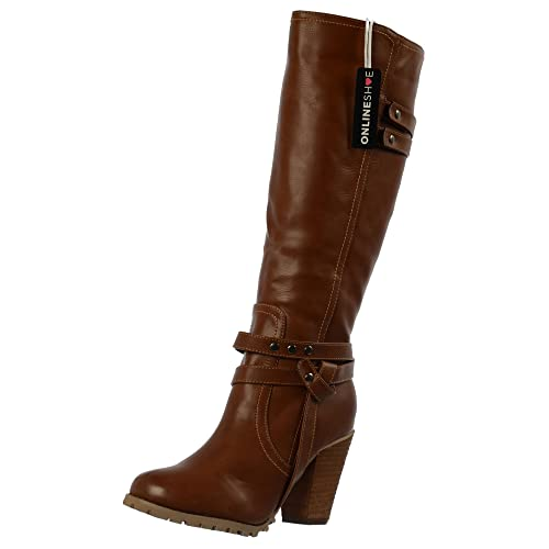 59e05e4699b93 Onlineshoe Women's Ladies Tall Knee High Biker Boots with Straps and Heel