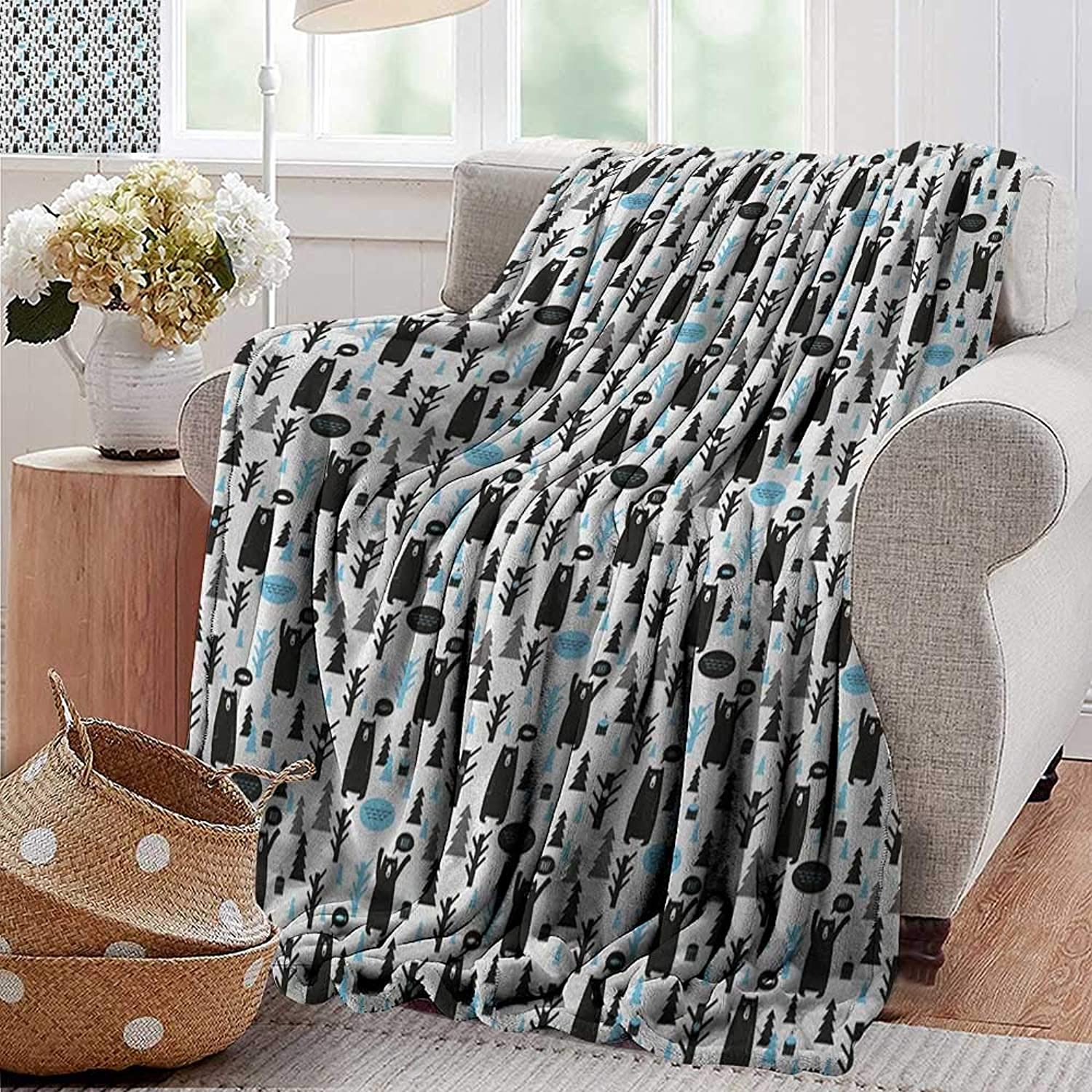 Ultra Soft Flannel Blanket,Bear,Modern Joyful Cartoon Style Pattern with Forest Animals and Christmas Trees, Pale bluee Black White,Lightweight Microfiber,All Season for Couch or Bed 50 x60