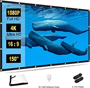 Projector Screen 150 inch, TOWOND 4K Movie Projector Screen 16:9 HD Foldable and Portable Indoor Outdoor Projection Rear Front Projections Screen for Home, Party, Office, Classroom