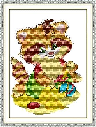 Kit de Punto de Cruz Animales de Colores Chreey Elefante 16 x 17cm Apto para Principiantes