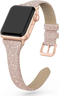 SWEES Leather Band Compatible for Apple Watch 38mm 40mm, Shiny Bling Glitter Matte Slim Elegant Genuine Leather Strap Compatible iWatch Series 5/4 /3/2 /1 Sport Edition Women, Glistening Champagne