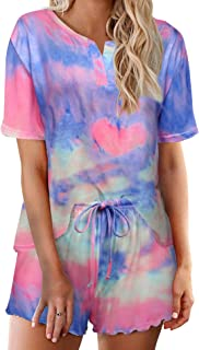 Ekouaer Tie Dye Pajamas Set Womens Loungewear Sleepwear 2 Piece PJ Sets, Appealing 4, Large