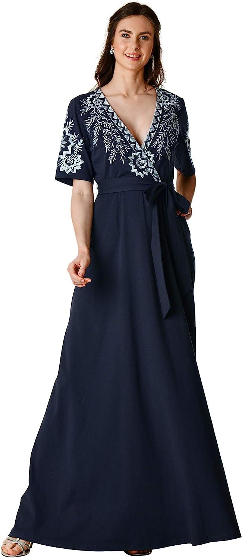 eShakti FX Floral Embroidery Cotton Jersey Knit Surplice Dress- Customizable Neckline