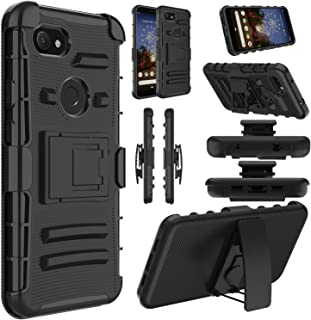 Google Pixel 3a XL Case, Google Pixel 3a XL Lite Case, Elegant Choise Hybrid Holster Heavy Duty Shockproof Full Body Protective Cover with Kickstand and Swivel Belt Clip for Pixel 3a XL (Black)