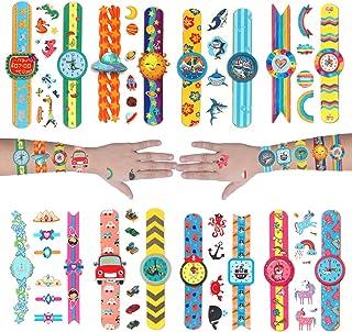 Cartoon Temporary Tattoos for kids Watch Shape with Unicorn, Dinosaurs, Shark, Rainbow, Mermaid, Car, Pirate, Outer Space ...