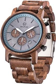 MUJUZE Orologio da uomo in legno – Cassa e cinturino regolabile in legno naturale massiccio giapponese al quarzo orologio ...
