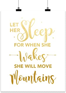 Let Her Sleep for When She Wakes She Will Move Mountains Home Wall Art Décor Gift for Girls Room, Daughter, Friend, Teen, ...