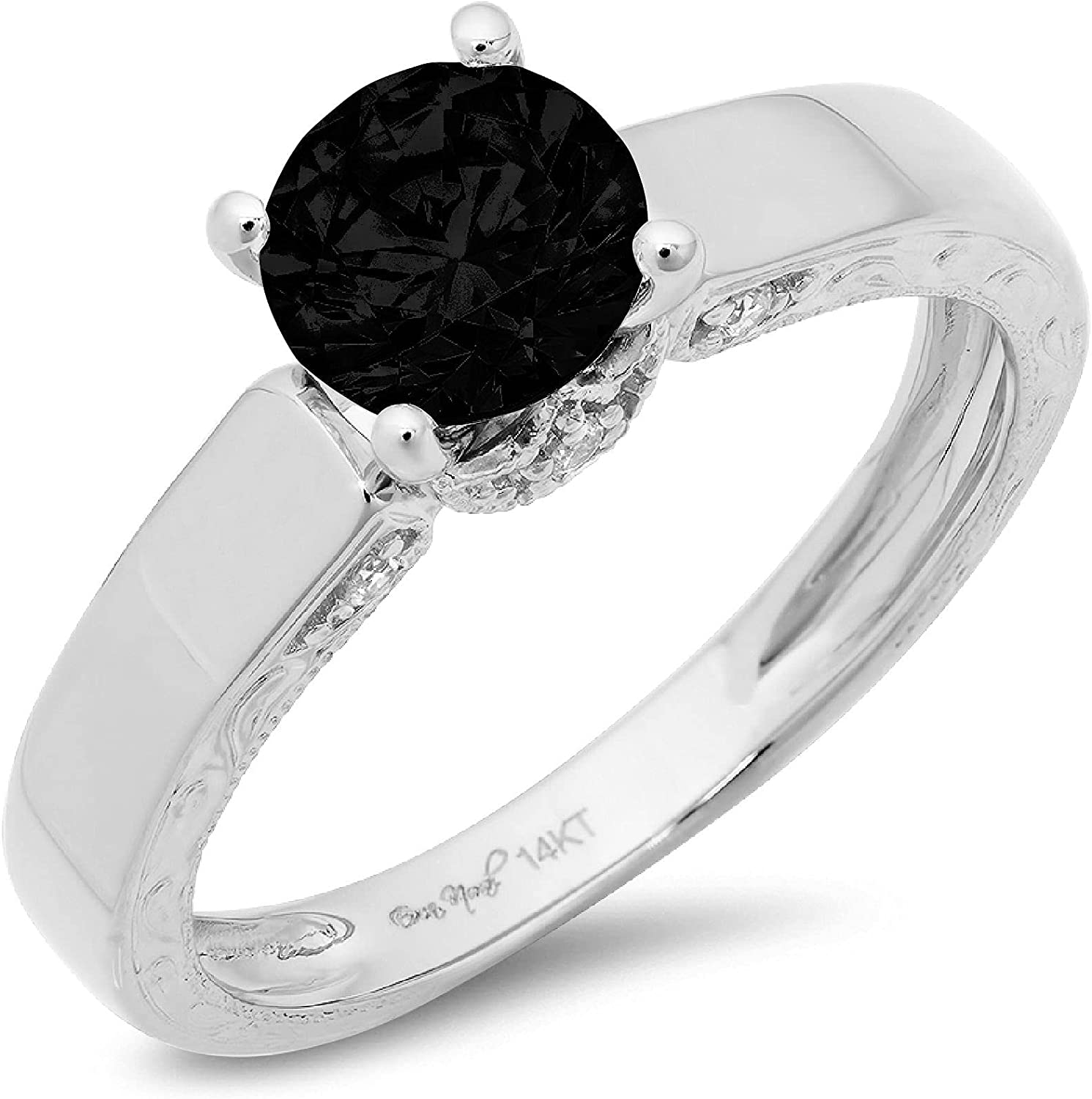 1.70ct Brilliant Round Cut Solitaire Genuine Flawless Natural Black Onyx Gemstone Engagement Promise Anniversary Bridal Wedding Accent Ring Solid 18K White Gold