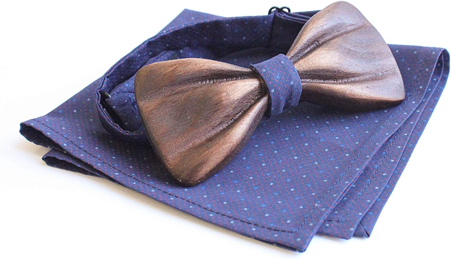 Krago Wooden Men's Bowties with Handkerchief for Business Formal Tuxedo Wedding Gift - 3D Natural Wood Pre-Tied Bow Ties