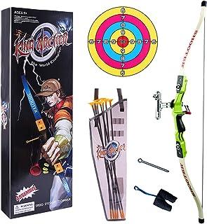Foxom Arco y Flechas Niños, Set Tiro con Arco con 6 Ventosa Flechas, 1 Arco, 1 Carcaj y 1 Objetivo, Niño 6-18 Años