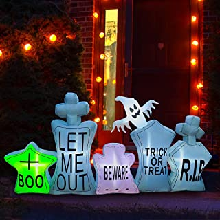 SEASONBLOW 7 Ft Inflatable Halloween Gravestone Tombstone Graveyard Headstone with Ghost Decoration for Yard Lawn Garden H...
