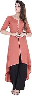Clothy N Wave Peach Rayon Solid High Low Kurta Palazzo Set