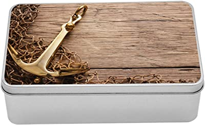 """Ambesonne Rustic Metal Box, Nautical Anchor and Fishing Net on Wooden Background Fisherman Seaside Themes, Multi-Purpose Rectangular Tin Box Container with Lid, 7.2"""" X 4.7"""" X 2.2"""", Brown and Cocoa"""