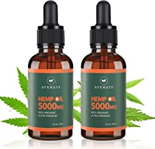 (2 Packs) Hemp Oil 5000 MG, 100% Natural Hemp Extract - Rich in Vitamin & Omega, Helps with Pain & Anxiety Relief, Sleep, ...