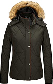 Wantdo Women`s Thicken Winter Coat Classic Quilted Puffer Jacket with Fur Hood