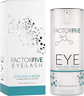 FactorFive Eye and Lash Cream with Human Derived Apidose Stem Cell Growth Factors for Anti Aging, Crows Feet Reduction, and Under-Eye Bags, Large Size, 0.5 fl oz/15ml