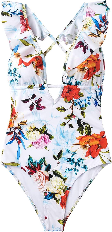 CUPSHE Women's One Piece Swimsuit Ruffle Deep V Neck Strappy Swimwear Bathing Suits