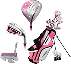 Precise M5 Ladies Womens Complete Right Handed Golf Clubs Set Includes Titanium Driver, S.S. Fairway, S.S. Hybrid, S.S. 5-PW Irons, Putter, Stand Bag, 3 H/C's Pink