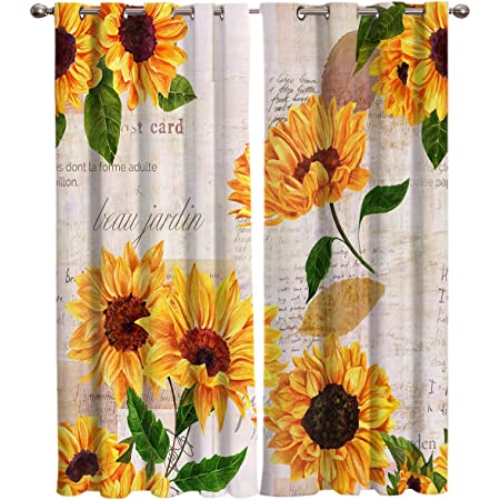 Sunflower with Newspaper Background Window Curtain T/&H Home Draperies /& Curtains Set Elegant Curtain by 2 Panels Curtain for Sliding Glass Door Patio Door Bedroom Living Room 54 W by 39 L