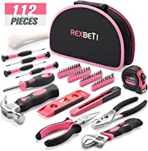 REXBETI 112-Piece Pink Tool Kit, Ladies Premium Solid and Real Hand Tool Set with Easy..