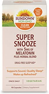 Sundown Super Snooze Melatonin Capsules, 90 Count