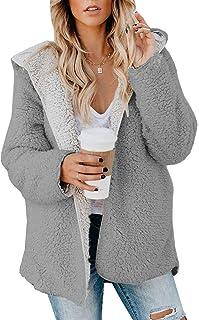 ReachMe Chaqueta Sherpa de gran tamaño para mujer con forro polar y bolsillos frontal abierto con capucha