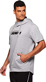 AND1 Men's Short Sleeve Hoodie - Pullover Basketball & Activewear Workout Sweatshirt